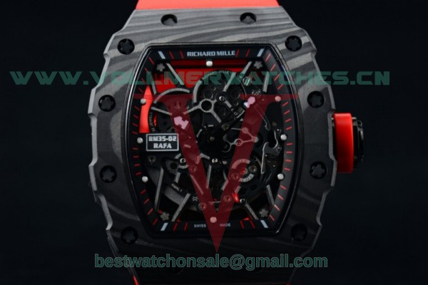 1:1 Richard Mille RM 35-02 RAFAEL NADA Miyota 9015 Skeleton Dial with PVD Case Red Rubber Strap RM 35-02